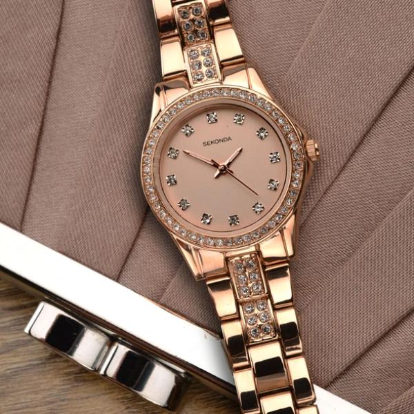 sekonda 2034 ženski sat roze zlatne boje