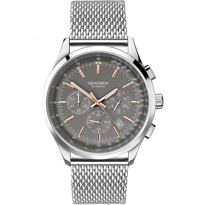 Sekonda muški sat od nerđajućeg čelika u srebrnoj boji sa pancir narukvicom i hronografom