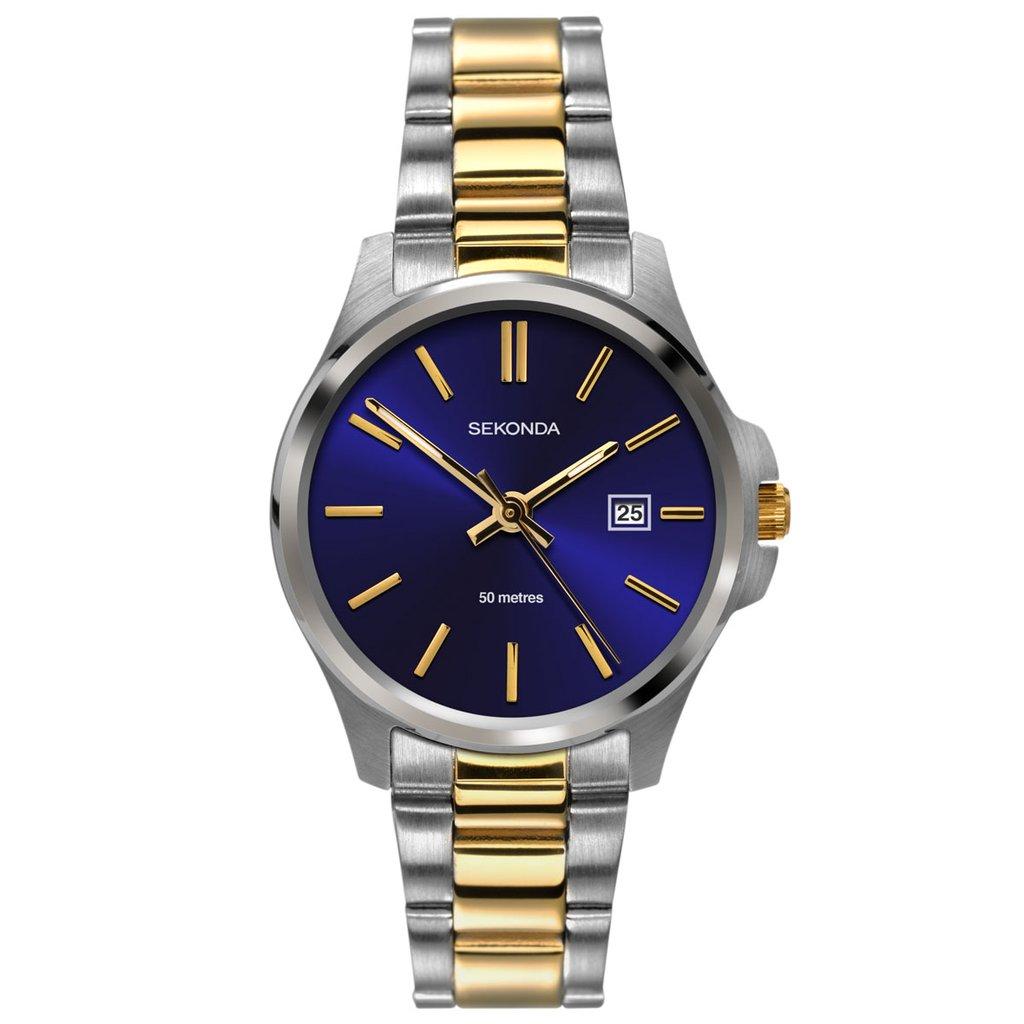 Ženski Sekonda srebrni sat sa zatnim detaljima i tamno plavim brojčanikom