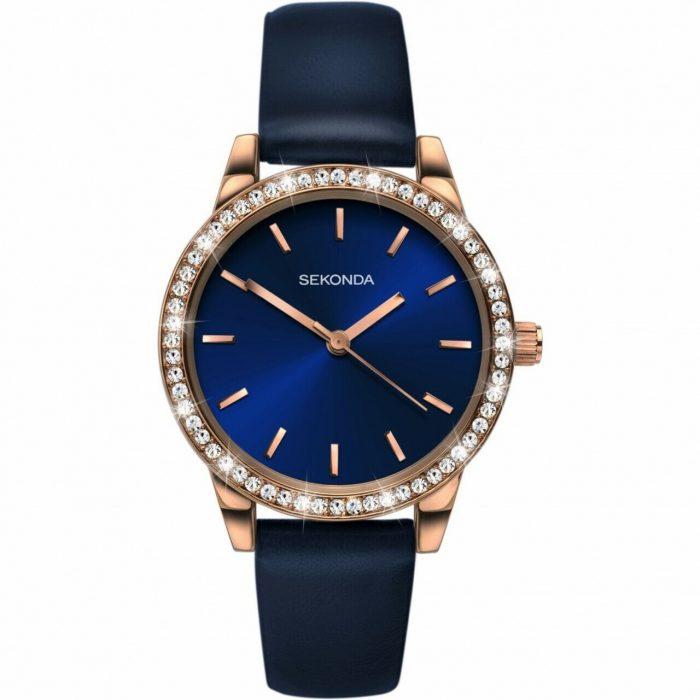 Ženski Sekonda roze zlatni sat sa tamno plavim brojččanikom sa cirkonima na lineti i tamno plavom kožnom narukvicom