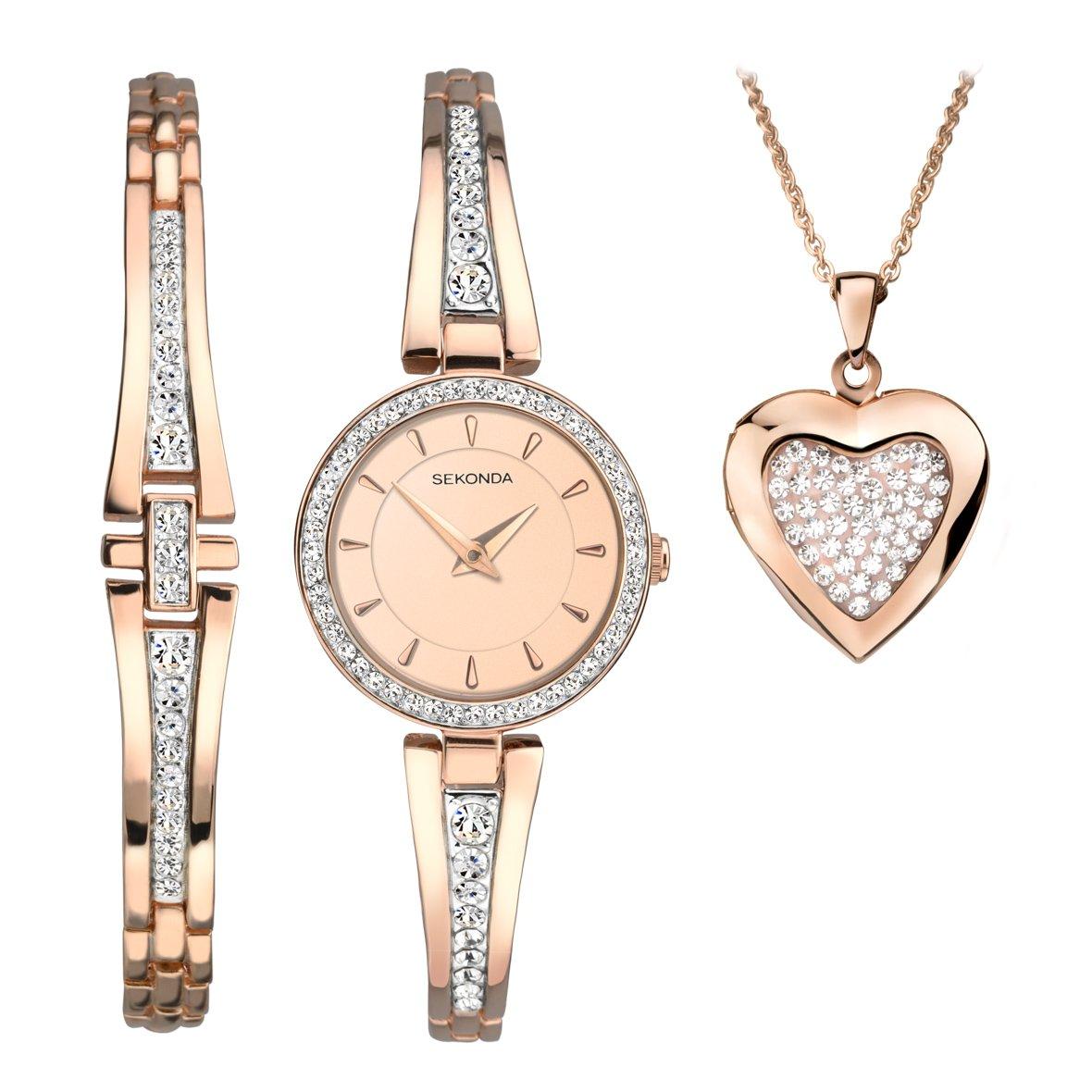 Ženski Sekonda poklon set sa roze zlatnim satom sa cirkonima, roze zlatnom narukvicom sa cirkonima i roze zlatnom ogrlicom sa priveskom srca sa cirkonima