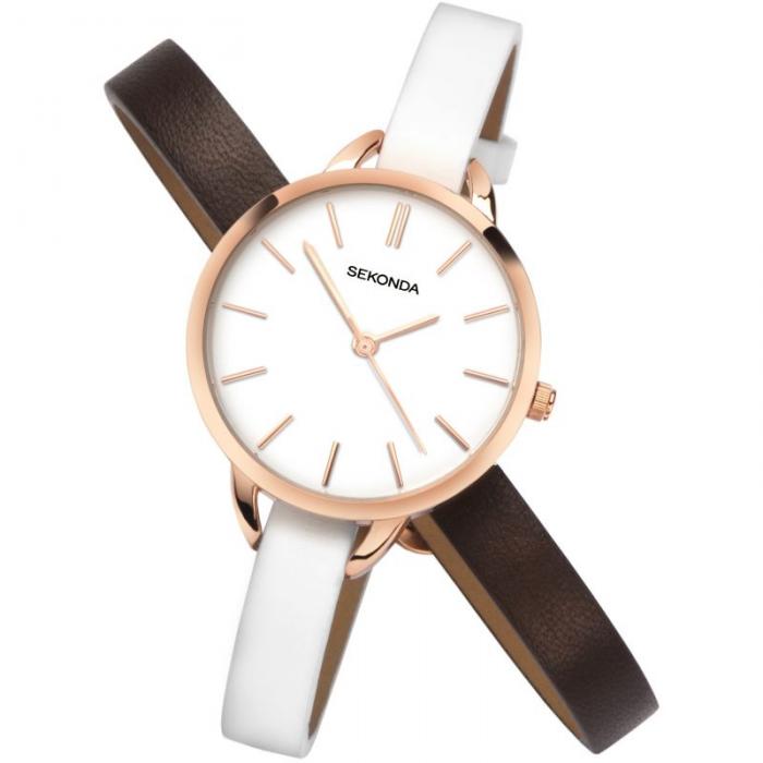Ženski Sekonda roze zlatni sat sa belim brojčanikom i dve narukvice koje mogu da se menjaju u beloj i braon boji
