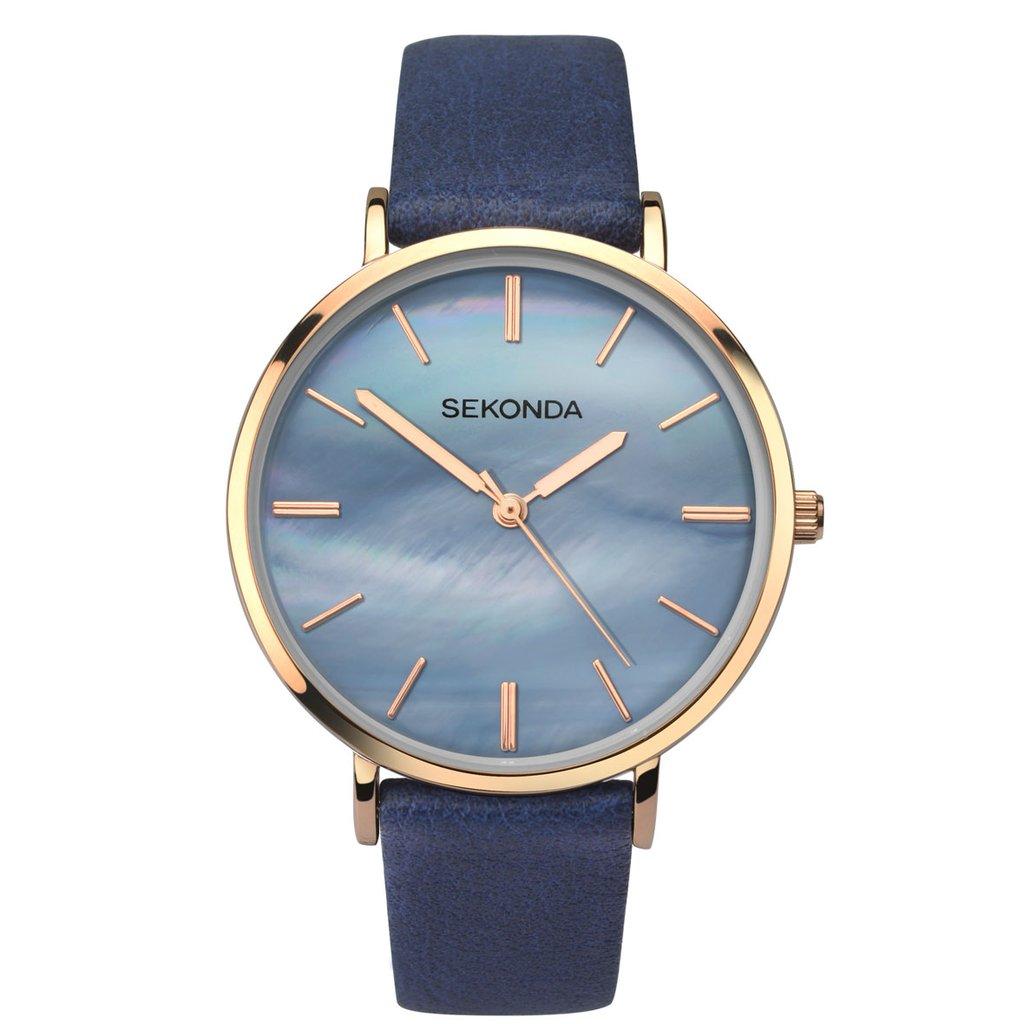 Ženski Sekonda roze zlatni sat sa plavim brojčanikom i kožnom tamno plavom narukvicom
