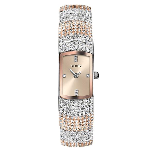 Ženski Sekonda Seksy roze zlatni sat sa Swarovski kristalima