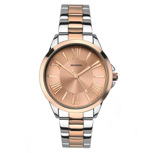 Ženski Sekonda metalni sat u srebrnoj boji i boji roze zlata