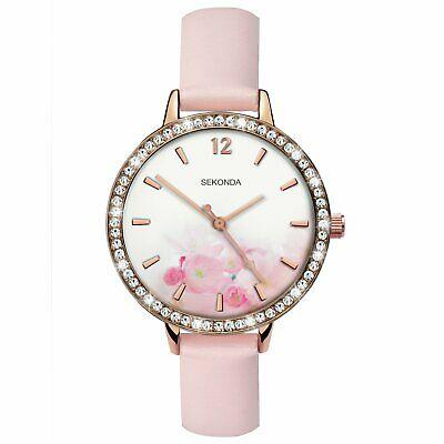 Ženski Sekonda roze zlatni sat sa svetlo roze kožnom narukvicom i brojčanikom sa roze cvetićima