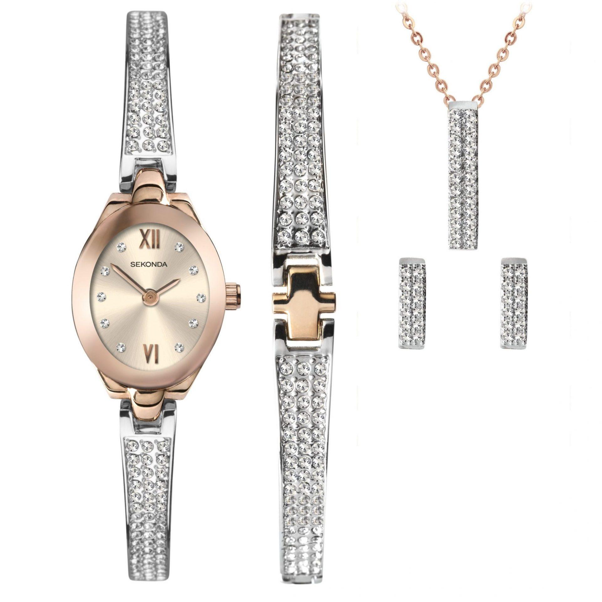 Ženski Sekonda četvorodelni poklon set sa roze zlatnim satom sa srebrnom narukvicom sa cirkonima, srebrnom narukvico sa roze zlatnim detaljima i cirkonima, roze zlatnom ogrlicom sa srebrnim priveskom sa cirkonima i srebrnim minđušama sa cirkonima
