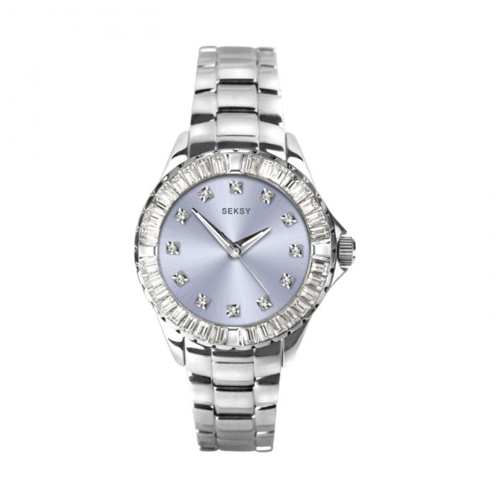 Ženski Sekonda Seksy srebrbni metalni sat sa plavim brojčanikom i Swarovski kristalima