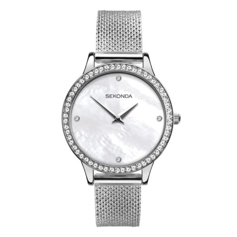 Ženski Sekonda srebrni, čelični sat sa cirkonima na lineti i s4edefastim brojčanikom