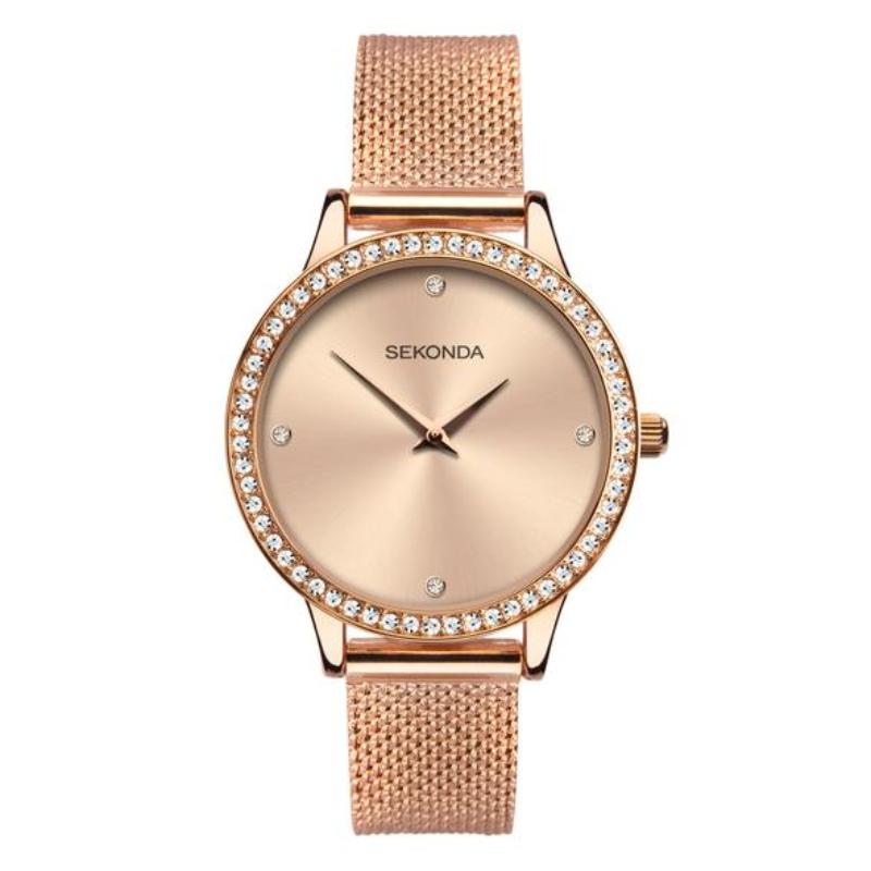 Ženski Sekonda roze zlatni, čelični sat sa cirkonima na lineti i metalik roze zlatnim brojčanikom