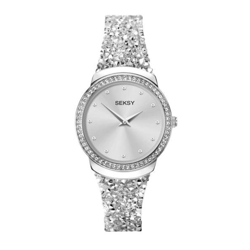 Ženski Sekonda Seksy srebrni sat sa kožnom narukvicom sa Swarovski kristalima