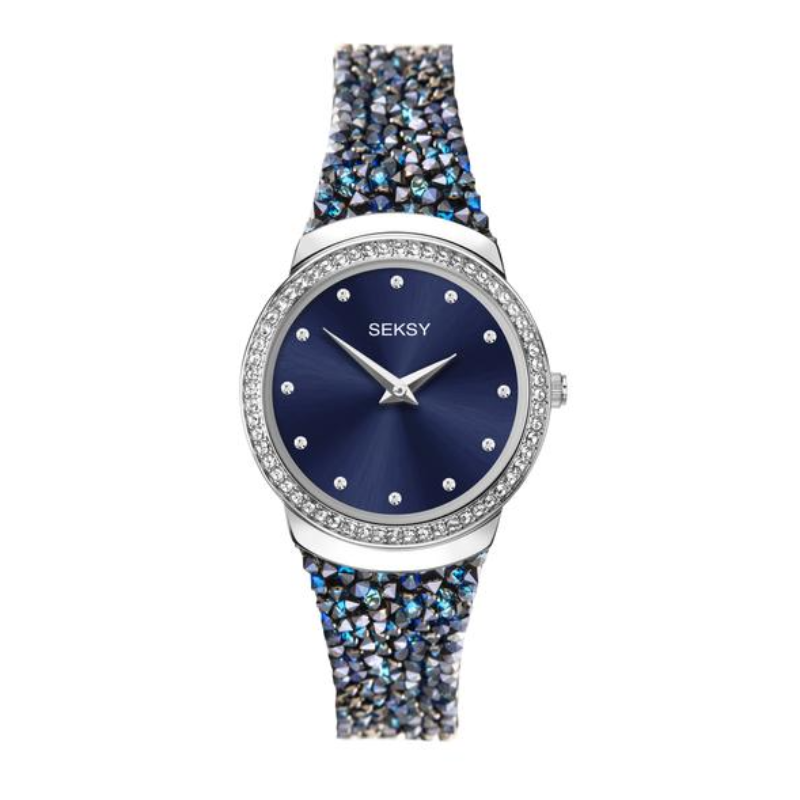 Ženski Sekonda Seksy srebrni sat sa kožnom narukvicom sa tamno plavim Swarovski kristalimai tano plavim brojčanikom