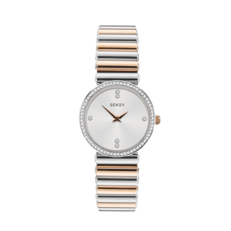 Ženski Sekona srebrni sat sa narukvicom u kombinaciji srebrne i roze zlatne boje i Swarovski kristalima