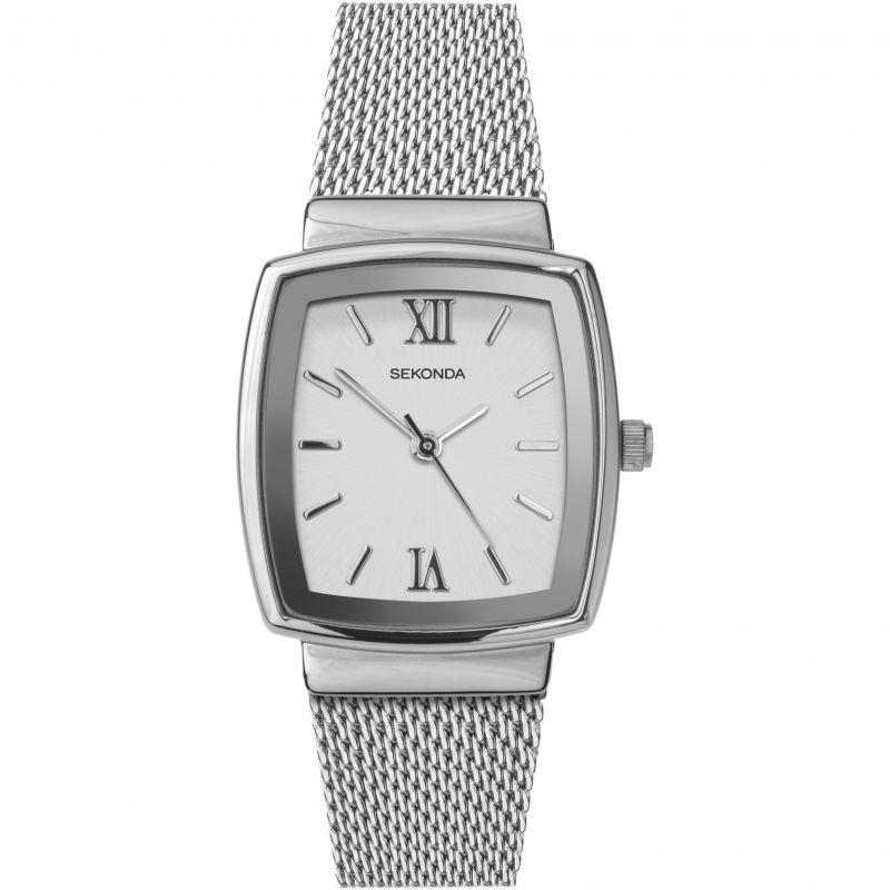 Ženski Sekonda klasični, metalni srebrni sat sa belim brojčanikom sa rimskim oznakama brojeva