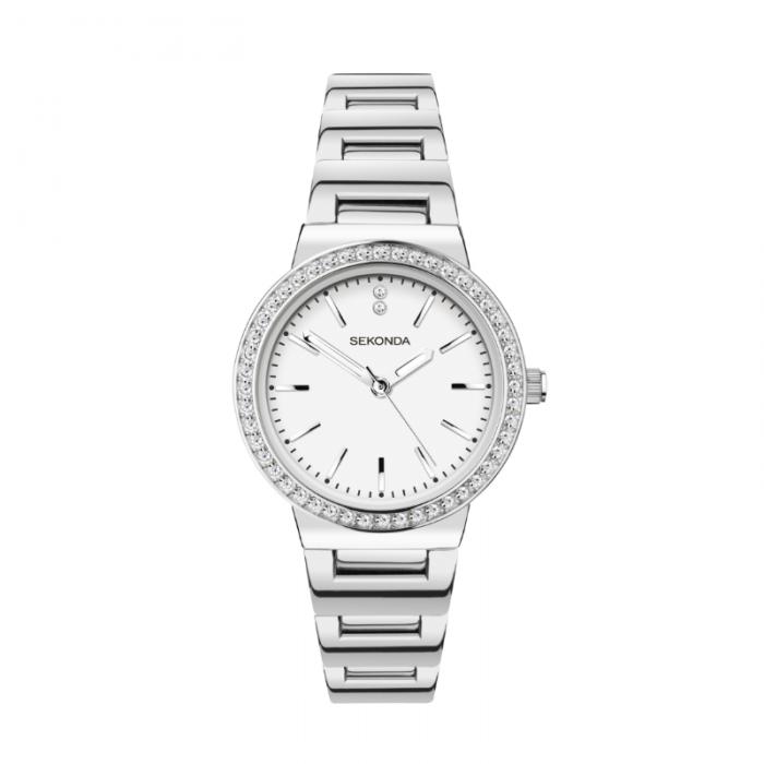 Ženski Sekonda srebrni sat sa cirkonima i belim brojčanikom