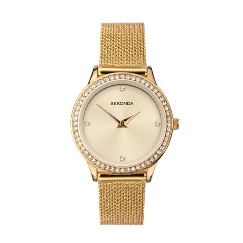 Ženski Sekonda zlatni čelični sat sa cirkonima