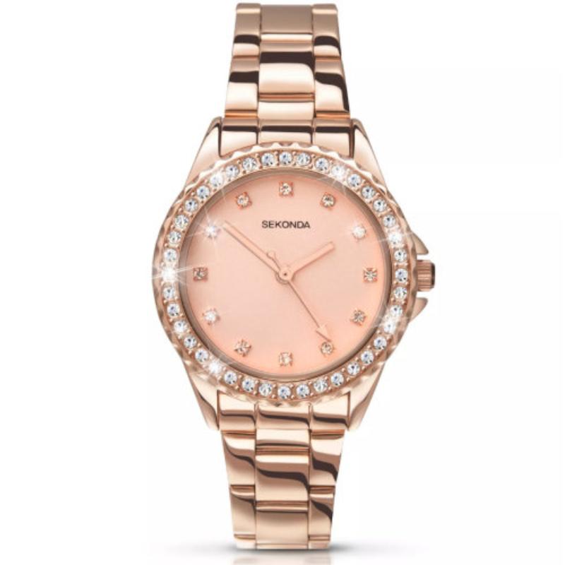 Ženski Sekonda roze zlatni sat sa cirkonima na lineti